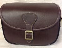 Leather Cartridge Bag Beautiful Design With Hinged Lid + Brass Buckles. Nn