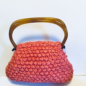 Morris-Moskowitz-Vintage-MM-Crochet-Straw-Purse-Pink-Lucite-Hinged-Handle