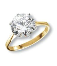 9ct Yellow Gold Solid Ladies Solitaire CZ Ring 10mm *All Sizes Available* NEW