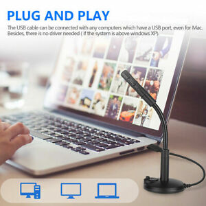Stand Alone USB wired Microphone Mic for DELL HP Asus Desktop Laptop Gaming PC
