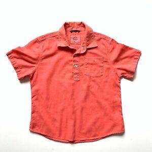 Mini-Boden-Boys-5-6-Short-Sleeve-Linen-Cotton-Blend-Coral-Popover-Shirt