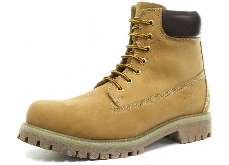 Nuevos zapatos para hombres y mujeres, descuento por tiempo limitado Grinders Brixton Unisex Amarillo Superior De Cuero Con Cordones Botas al Tobillo Suela Resistente
