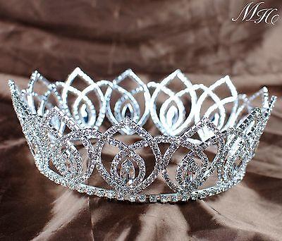 Majestic Pageant Wedding Bridal Crown Crystal Rhinestone Princess Silver Tiara