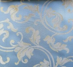 Designer-Brocade-Jacquard-Fabric-54-wide-sold-by-yard-color-sky-blue-floral