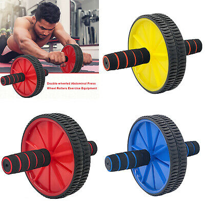 Gym Double-wheeled Abdominal Press Wheel Rollers Exercise Equipment w//Hassock