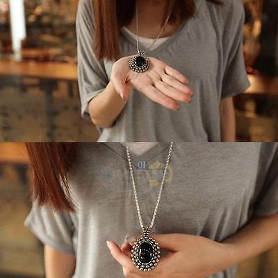 Vintage Retro Silver Ellipse Black Gem Women Long Sweater Chain Necklace Jewelry