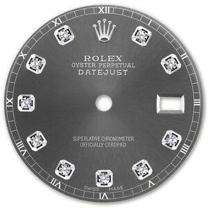 REFINED-MENS-SS-DATEJUST-DARK-GREY-DIAMOND-DIAL-RT-FOR-ROLEX-36