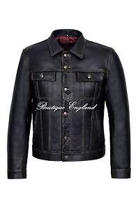"""Men's """"TRUCKER"""" Black Italian Cow Hide Casual Denim Style Button Western Jacket"""