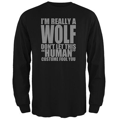 Halloween Human Wolf Costume Black Adult Long Sleeve T-Shirt