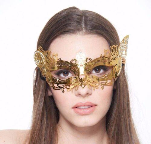 Rose Gold Venetian Masquerade Metal Mask with Clear Rhinestones