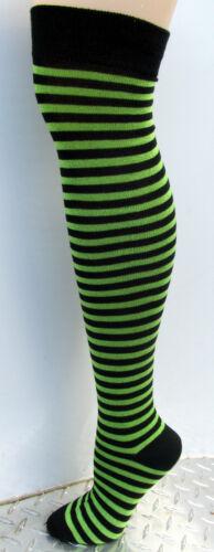 K.Bell Ladies Over The Knee Socks Ladies Lime Green Black Stripe Socks New