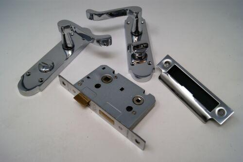 Scroll Modern Design Polished Chrome Door Handle on Plate Bathroom Set
