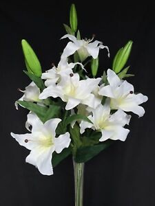Fake-Faux-Silk-Artificial-Casablanca-Lily-x12-in-White-lily-lillie-lilies-lilly