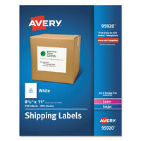 Avery White Shipping Labels Laser/inkjet 8 1/2 X 11 White 250/box 95920