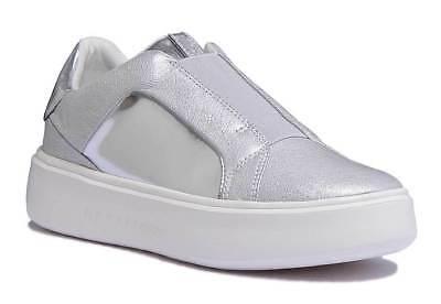Geox D Nhenbus B Damen Silber Leder Matt Schuhe Sneaker Turnschuhe | eBay