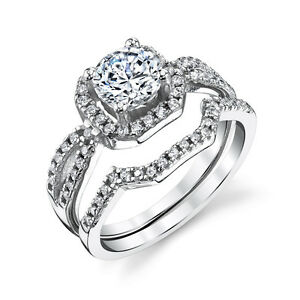 Sterling-Silver-CZ-Engagement-Wedding-Ring-Set-Cubic-Zirconia-and-Matching-Band