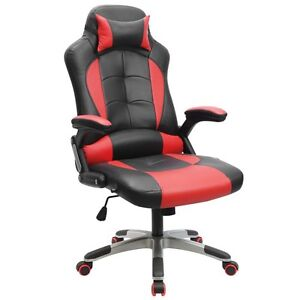 Executive Racing Gaming Chair High Back Reclining PU Leather Chair Red/Black@