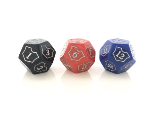 x3 MTG D12 Spin Down Loyalty Counter Dice Red Black Blue Magic The Gathering