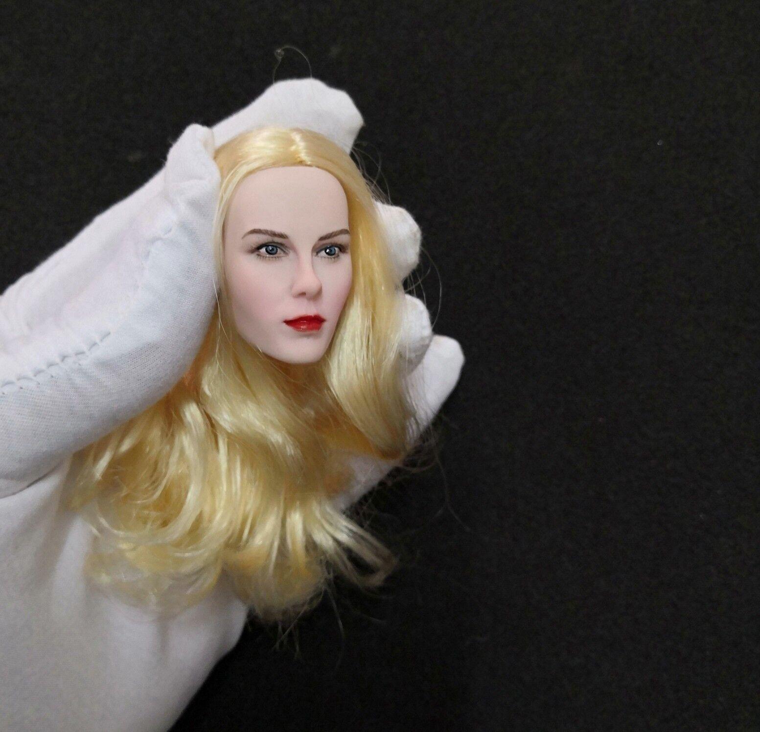 1   6 schönheits - actionfigur kopf skulptur, nicole kidman, weiße haut Goldenes haar.