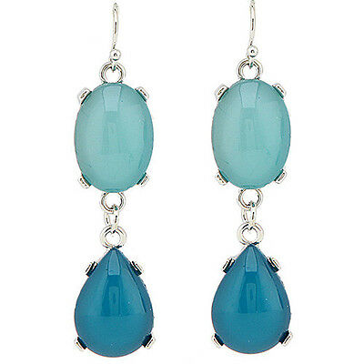 Two Tone Colored Drop Earring Aqua Free Shipping Fashion Jewelry Colored Stone