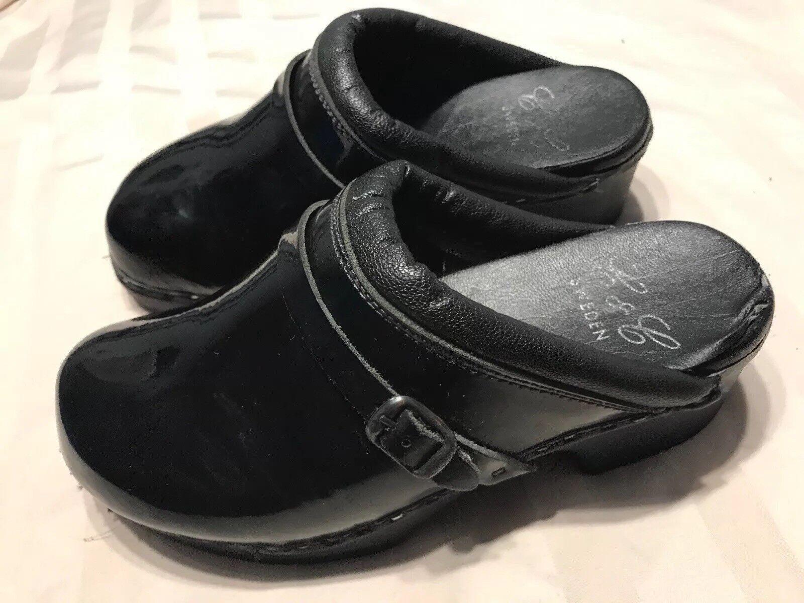C&C Black Patent Leather Slip On Clogs Shoes Sz 6 M SC8