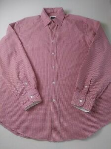 Breuer-Mens-Shirt-Size-2XL-XXL-Red-Check-Long-Sleeve-Button-Front-Made-In-Italy
