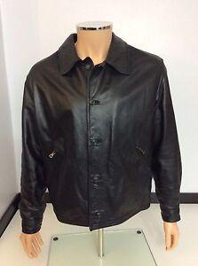 Armani-Jeans-Men-039-s-Black-Leather-Coat-Jacket-Uk-XL-38-Bomber-Vgc