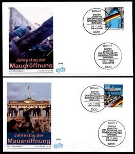 1. Anniversaire Du Mur Ouverture. 2 Fdc. Bonn. Brd 1990-afficher Le Titre D'origine