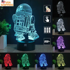 Star Wars R2-D2 3D Acrylic LED Night Light 7 Color Touch  Table Desk Lamp Gift