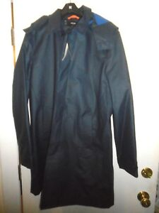 Jack-Spade-Rubberized-Hooded-Trench-Coat-Rain-Coat-NWT-Large-448-Navy-Blue