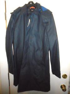 Jack-Spade-Rubberized-Hooded-Trench-Coat-Rain-Coat-NWT-XXL-448-Navy-Blue