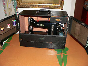 Vintage-NECCHI-034-BF-034-Italy-Heavy-Duty-Sewing-Machine-w-Case-Powers-On