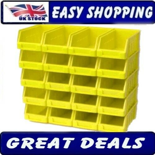 10 Yellow Size 2 Stacking Parts Storage Bins Garage Home Workshop