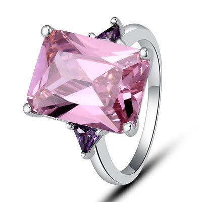 Size 6 7 8 9 10 11 Solitare Pink Topaz Gemstones Silver Ring Emerald Cut Elegant