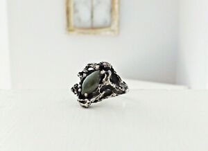 Sterling-Silver-Brutalist-Mid-Century-Modernist-Organic-Jade-925-Size-6-5-Ring
