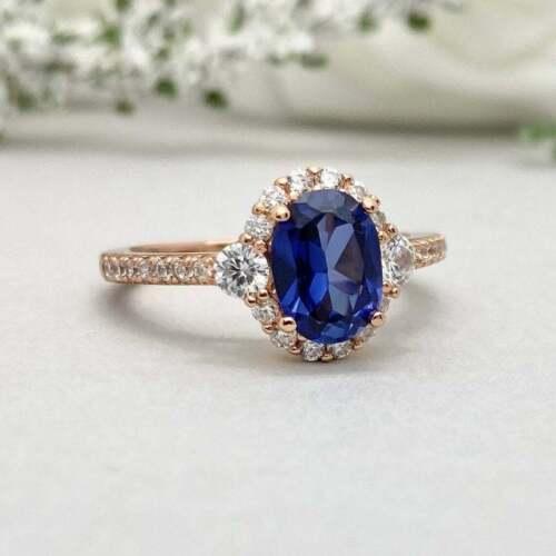 2.50Ct Oval Cut Blue Sapphire Diamond Halo Engagement Ring 14K Rose Gold Finish