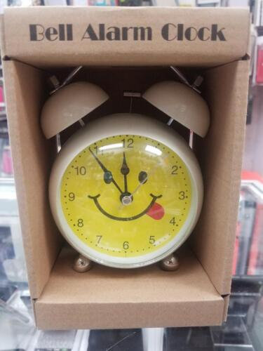 New Huge Big Smiley Happy Face Twin Bell Alarm Clock