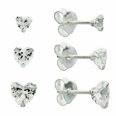 Set of 3. Revere Sterling Silver Cubic Zirconia Classic Studs