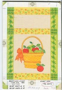 VINTAGE APPLES PEARS FRUIT LEMON YELLOW LIME GREEN GINGHAM BASKET W/C PAINTING