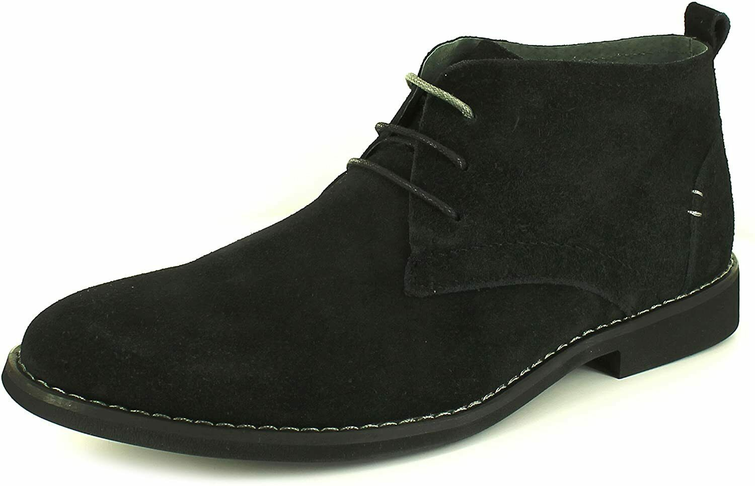 Front ROSCOE Mens Genuine Suede Leather Lace Up Desert Boots Black Size: 6 UK