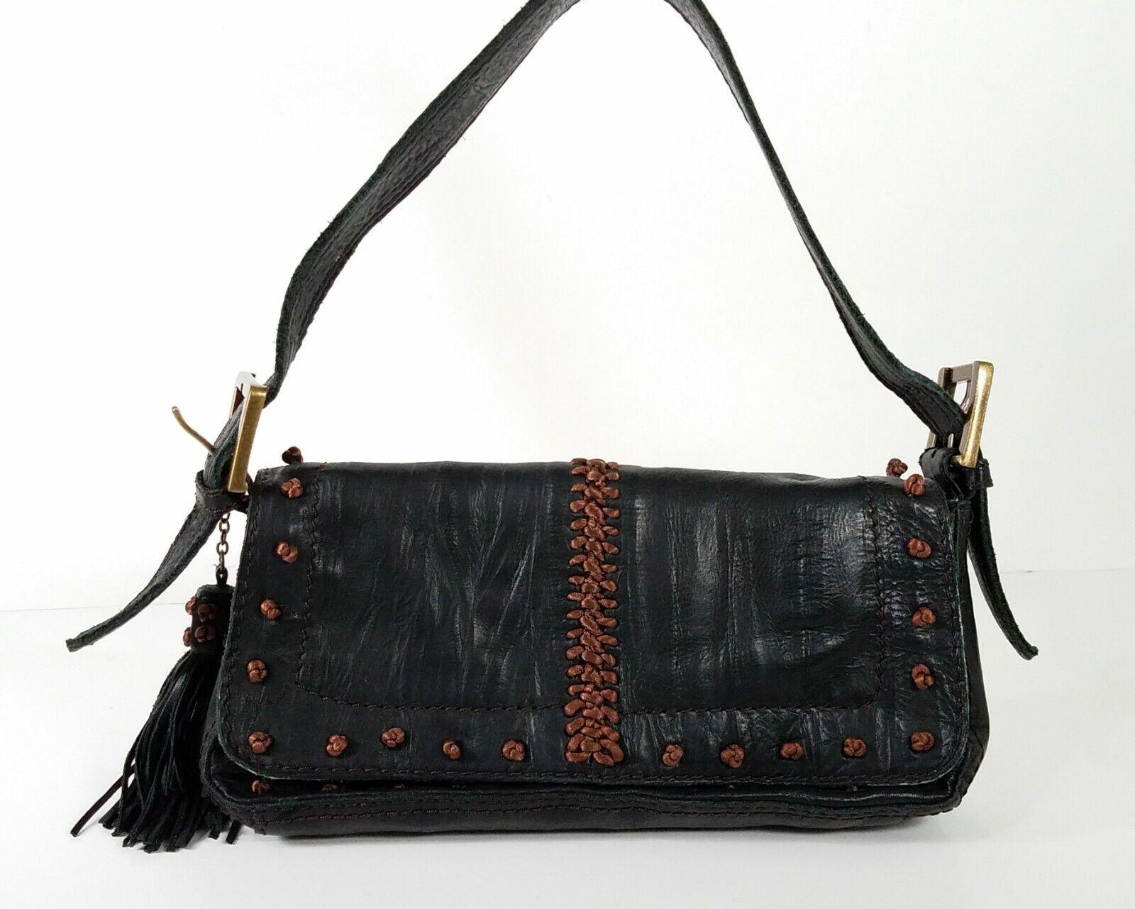 Steve Madden Leather Knotted Baguette Handbag (Small) H 5.25