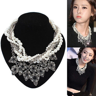 Womens Jewelry Chain Pearl Crystal Bib Statement Necklace Pendant Choker X3