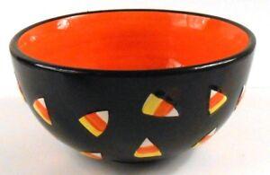 Black-Candy-Dish-Bowl-with-Candy-Corn-Design-Fall-Halloween-Decor-Orange-Inside