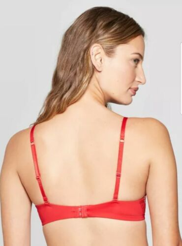 Details about  /Auden Womens The Radiant Plunge Push Up Bra Size 36B 36C Underwire Ripe Red