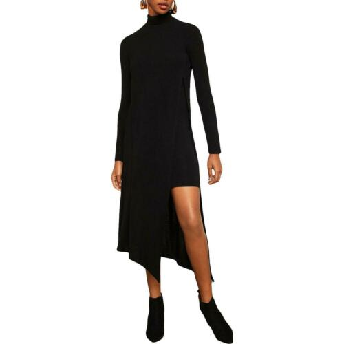BCBG Max Azria Womens Kabrina Black Turtleneck Midi Casual Dress XS BHFO 0793