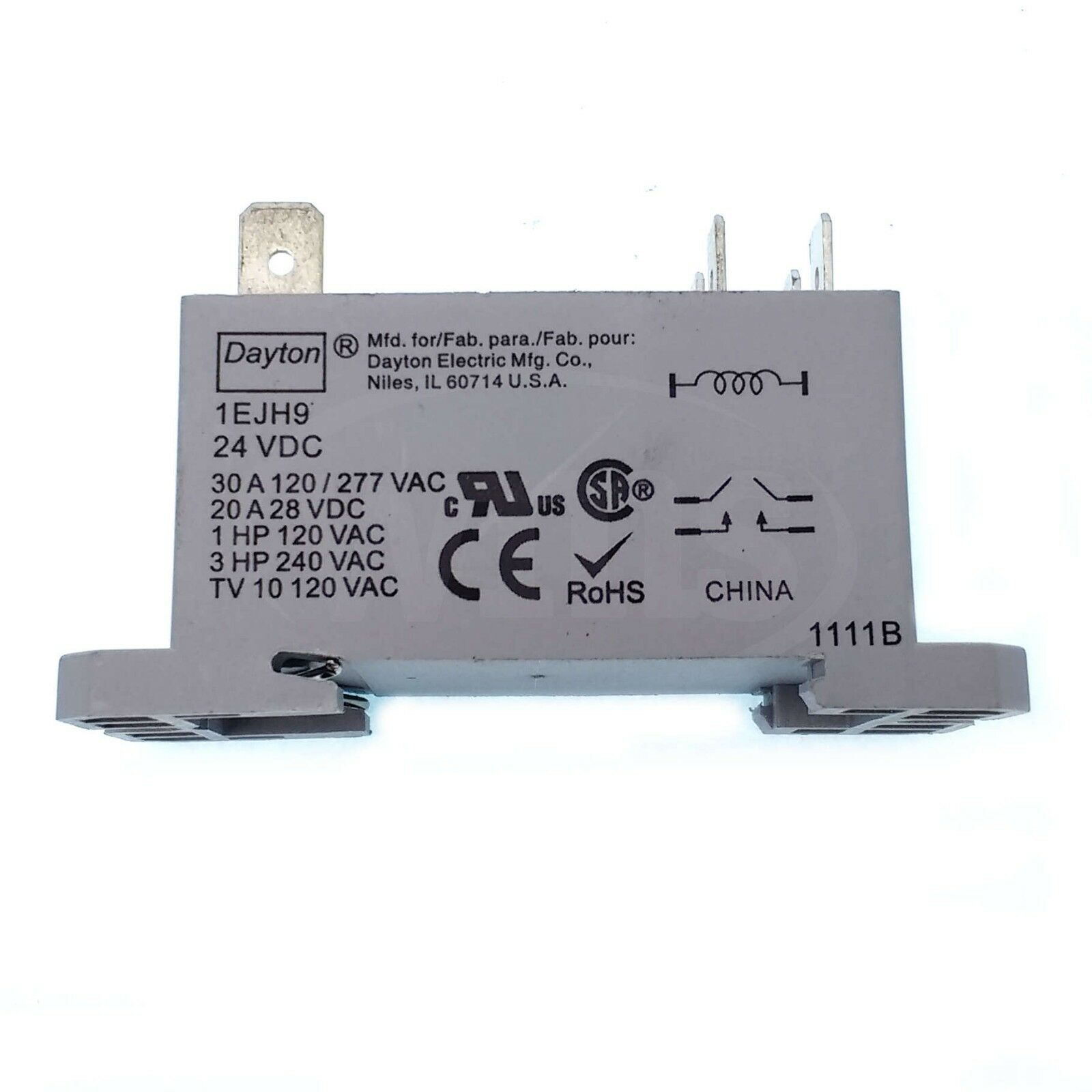 Dayton 1EJH9 30 Amp Power Relay Dpst-no 24vdc Coil for sale online