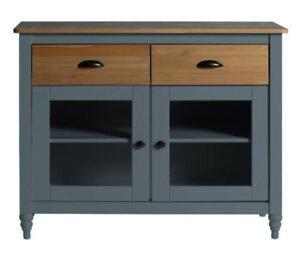Küchen Anrichte Mit Glastüren Schubladen 90x82x40 Kommoden Sideboard