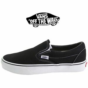 9eb51f5740a Men s Vans Classic Slip on Black Fashion Sneakers Canvas Skate Shoes ...