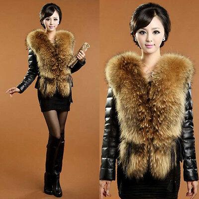 Women Winter Black Warm Faux Fur Collar Long Sleeve Leather Jacket Coat Outwear
