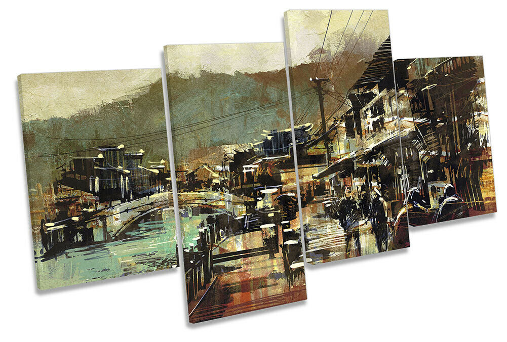 Old Village Abstract Bridge Picture MULTI CANVAS WALL ART Print Multi-Colourot
